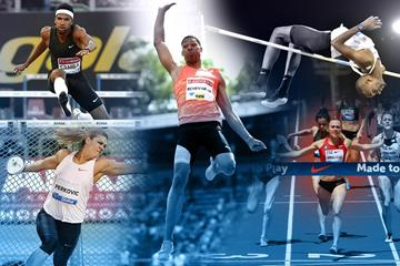 Abderrahman Samba, Sandra Perkovic, Juan Miguel Echevarria, Mutaz Essa Barshim and Shelby Houlihan in IAAF Diamond League action ()