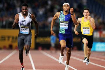 Michael Norman on his way to winning the 200m at the IAAF Diamond League meeting in Rome (Jean-Pierre Durand)
