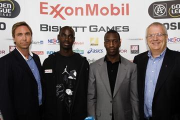 ExxonMobil Bislett Games athletes liaison Steinar Hoen, Jaysuma Saidy Ndure, Michael Johnson and ExxonMobil Bislett Games Meeting Director Svein Arne Hansen (ExxonMobil Bislett Games organisers)