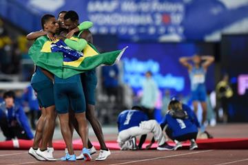 The Brazilian 4x100m team celebrate their win at the IAAF World Relays Yokohama 2019 (Getty Images)