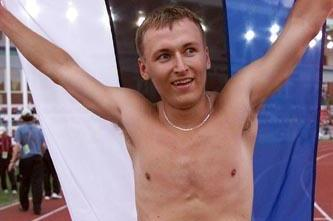 Rene Oruman after winning the 2001 world youth octathlon title in Debrecen (© Allsport)