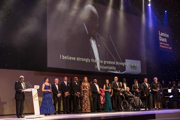 IAAF President Lamine Diack and IAAF Hall of Fame members at the IAAF Centenary Gala in Barcelona (Philippe Fitte)