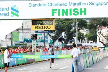 Waganesh Mekasha winning at the 2014 Standard Chartered Marathon Singapore  (Organisers)