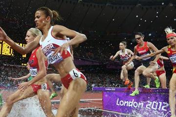 Habiba Ghribi of Tunisia and Marta Dominguez of Spain compete in the Women's 3000m Steeplechase final on Day 10 of the London 2012 Olympic Games on 6 August 2012 (Getty Images  )