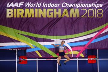 Mariya Lasitskene in the high jump at the IAAF World Indoor Championships Birmingham 2018 (Getty Images)