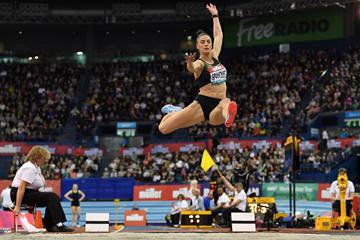 Ivana Spanovic in the long jump at the World Indoor Tour meeting in Birmingham (AFP / Getty Images)