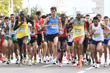 Otmane Nait Hammou (centre) in action at the World Athletics Half Marathon Championships Gdynia 2020 (Getty Images)