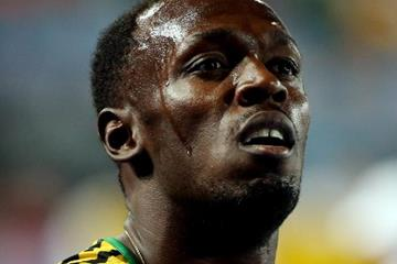 Usain Bolt after the 4x100m at the IAAF/BTC World Relays, Bahamas 2015 (Getty Images)