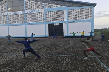 Training at the Filbert Bayi Sports Complex in Tanzania (Ron Davis)