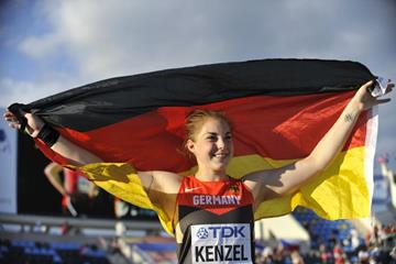 Alina Kenzel after winning the shot put at the IAAF World U20 Championships Bydgoszcz 2016 (Getty Images)