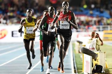Willy Tarbei leading the boys' 800m final at the IAAF World Youth Championships, Cali 2015 (Getty Images)