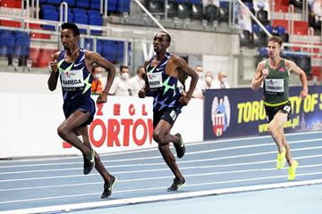 Eventual winner Selemon Barega leads the 1500m at the World Athletics Indoor Tour Gold meeting in Torun (Jean-Pierre Durand)