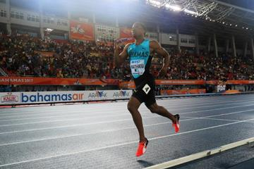 Michael Mathieu on his way to victory for Bahamas in the mixed 4x400m at the IAAF/BTC World Relays Bahamas 2017 (Getty Images)