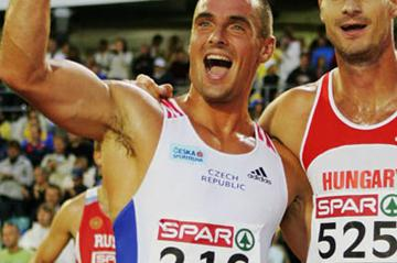 Roman Sebrle celebrating his Decathlon title defence in Gothenburg (Getty Images)