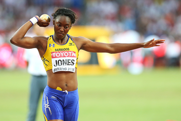 Akela Jones in the heptathlon shot put at the IAAF World Championships Beijing 2015 (Getty Images)