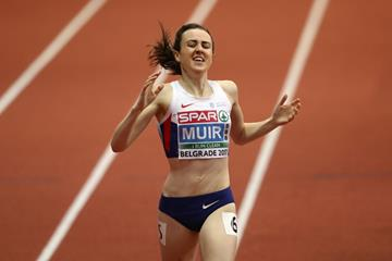 Laura Muir of Great Britain winning the 3000m at the European Indoor Championships in Belgrade (Getty Images)