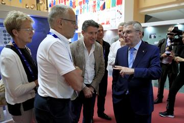 Paivi Viren, Lasse Viren, Seb Coe and Thomas Bach in the IAAF Heritage Exhibition in Doha (Getty Images)
