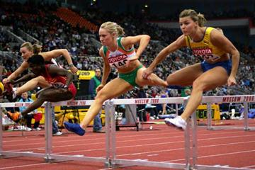 Derval O'Rourke of Ireland in action on her way to gold in the 60m Hurdles final (Getty Images)