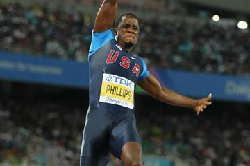 Dwight Phillips of the United States going for gold medal during the men's long jump final  (Getty Images)