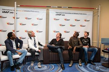 Javier Sotomayor, Dick Fosbury, Patrik Sjoberg, Mutaz Essa Barshim and Bogdan Bondarenko speak to the press in Monaco (Philippe Fitte / IAAF)