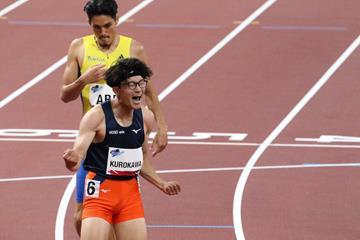 Kazuki Kurokawa wins the 400m hurdles at the Ready Steady Tokyo meeting (JAAF)