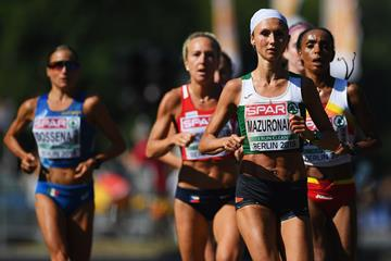 Volha Mazuronak on her way to winning the marathon at the European Championships (Getty Images)