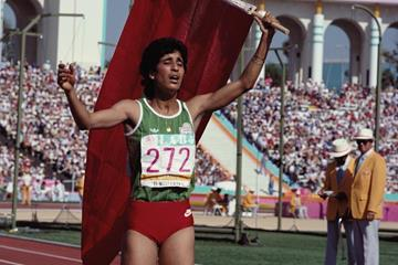 Nawal El Moutawakel after winning the 1984 Olympic Games 400m hurdles (Getty Images)