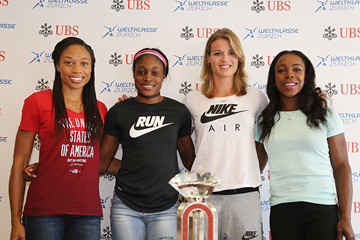 Allyson Felix, Elaine Thompson, Dafne Schippers and Veronica Campbell-Brown at the press conference for the IAAF Diamond League meeting in Zurich (Jean-Pierre Durand)