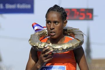 Ashete Dido after winning the 2013 International Peace Marathon in Kosice (organisers)