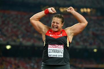 Christina Schwanitz celebrates her shot put victory at the IAAF World Championships, Beijing 2015 (Getty Images)