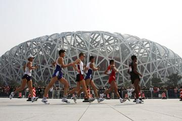 Walkers in action outside Beijing's Olympic stadium (Getty Images)