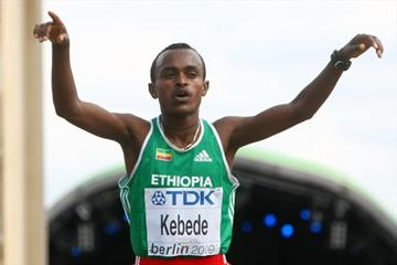 Ethiopia's Tsegay Kebede celebrates adding the IAAF World Championship Marathon bronze medal to his Olympic bronze medal (Getty Images)