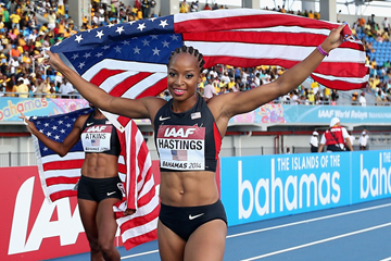 USA's Natasha Hastings after winning the 4x400m at the IAAF World Relays (Getty Images)