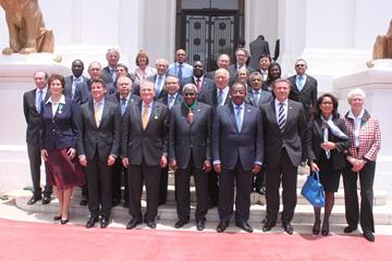 IAAF Council members in front of Senegal's Presidential Palace in Dakar, April 2014 (IAAF)