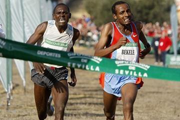 Frantic finish in Seville - Moses Kipsiro (l) edges Tariku Bekele (Juan Rodelas)