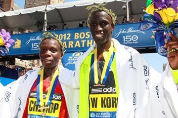 Wesley Korir and Sharon Cherop the victors at the 2012 BAA Boston Marathon (Victah Sailer)
