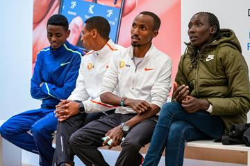 Tadu Abate, Solomon Deksisa, Abdi Nageeye and Linet Masai at the Amsterdam Marathon press conference (Ronald Hoogendoorn / organisers)