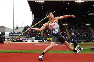 Thomas Rohler breaks the javelin meeting record at the IAAF Diamond League meeting in Eugene (Victah Sailer)
