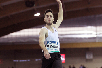 Miltiadis Tentoglou, winner of the long jump at the IAAF World Indoor Tour meeting in Madrid (Jean-Pierre Durand)