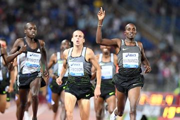 Elijah Manangoi winning the 1500m at the 2016 IAAF Diamond League meeting in Rome (Gladys Chai)