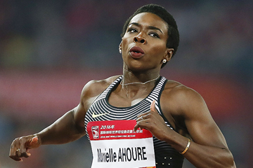 Murielle Ahoure of the Ivory Coast takes victory in the 100m (Getty Images)