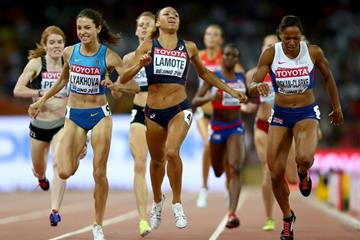 Shelayna Oskan-Clarke wins her 800m semi-final at the IAAF World Championships, Beijing 2015 (Getty Images)