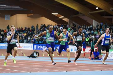 Ronnie Baker sizzles to a 6.44 win in Madrid (Dan Vernon)