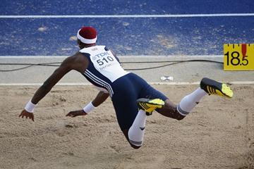 Great Britain's Phillips Idowu in action setting a personal best distance of 17.73m to win the men's Triple Jump final in Berlin (Getty Images)