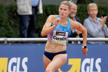 Carolin Schafer en route to a 200m personal best and meeting record in Ratingen (Gladys Chai von der Laage)