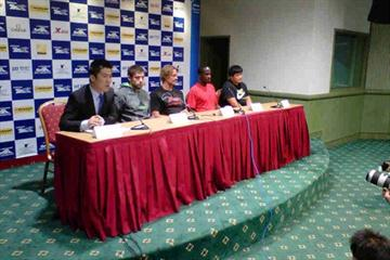 Shanghai press conference - 12 May - (l to r) moderator, Watt, Thorkildsen, Phillips, Gong (IAAF.org)