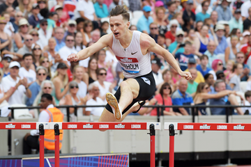 Karsten Warholm on his way to winning the 400m hurdles at the IAAF Diamond League meeting in London (Kirby Lee)