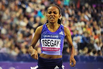 Gudaf Tsegay in the 1500m at the IAAF World Indoor Tour meeting in Glasgow (AFP / Getty Images)