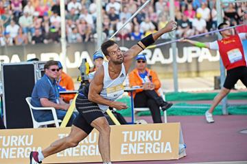 Javelin winner Magnus Kirt at the IAAF World Challenge meeting in Turku (Hasse Sjogren)