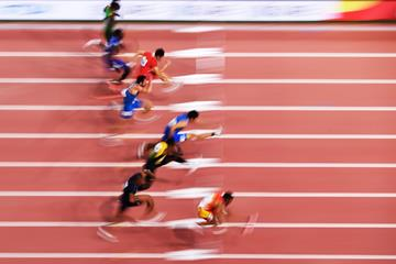 Athletes in action in the 110m hurdles at the IAAF World Athletics Championships Doha 2019 (Getty Images)